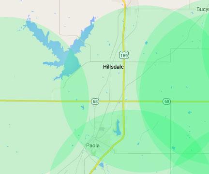 Internet service area for Hilldale, Kansas